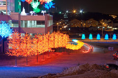 LED Tree along roadside. Concept of energy saving, cool lighting and decoration royalty free stock photos