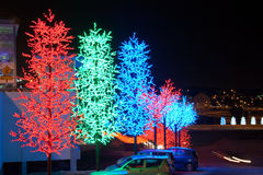 LED Tree Decoration Festival. LED Decoration Festival. Concept of energy saving, cool lighting and decoration Stock Photo