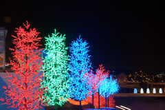 LED Tree Decoration Festival. LED Decoration Festival. Concept of enegy saving, cool lighting and decoration royalty free stock photo