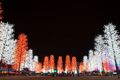 LED Tree Decoration Festival. LED Decoration Festival. Concept of enegy saving, cool lighting and decoration stock images