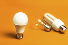 LED, Tungsten and fluorescent bulbs Stock Photo
