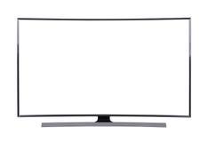 LED TV d'isolement sur le fond blanc avec le chemin de coupure Photos stock
