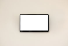 Led tv hanging on the wall. Background Royalty Free Stock Images