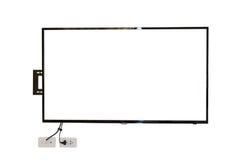 LED TV, installazione della parete con cavo, isolato su fondo bianco Fotografie Stock