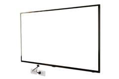LED TV, installazione della parete con la spina e sbocco, isolato su fondo bianco Fotografia Stock