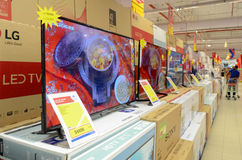 LED TV for Sale in Supermarket. Hyperstar Supermarket, Emporium Mall, Lahore Pakistan Stock Image