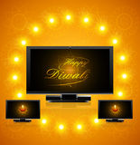 Led tv screen beautiful happy diwali celebration vect Stock Image