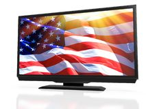 LED TV with the USA national flag on the screen Stock Photos