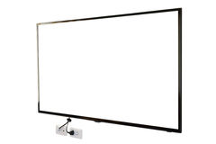 LED TV, wall installation with plug and outlet, isolated on white background Stock Photography