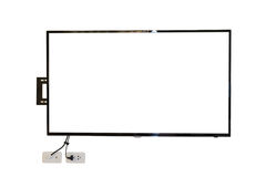 LED TV, wall installation with wire, isolated on white background Stock Photos