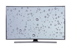 Led tv with water drop screen isolated on white background Stock Image