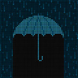 LED umbrella and rain Royalty Free Stock Photo