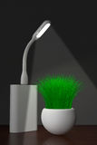 Led USB Lamp with Powerbank and Grass in Planter. 3d Rendering Royalty Free Stock Image