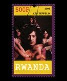 Led Zeppelin portostämpel från Rwanda royaltyfri fotografi