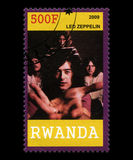 Led Zeppelin Postage Stamp from Rwanda Royalty Free Stock Photography