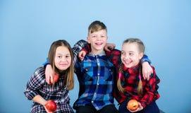 Leda ett fruktbart liv Små barn som rymmer röda äpplen Liten grupp av barn som tillsammans äter äpplen gulligt arkivbilder