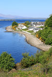 Ledaig Point, Lismore Island and Isle of Mull. View looking West from the Connel Bridge carrying the A828 road over Loch Etive. Ledaig Point is in the foreground royalty free stock photography