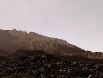 ledande öppen vägteide tenerife till vulkan Slingrig bergväg i härligt landskap på Tenerife som visar vulkan Teide Arkivfoto