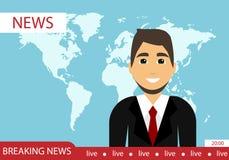 Ledande ett nyhetsprogram senast nyheterna för diagramnyheterna för abstrakt bakgrund 3d framför den blåa bilden världen Plan des vektor illustrationer