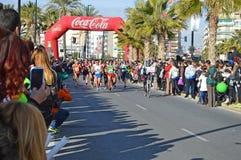 Ledande kvinna i maraton Fotografering för Bildbyråer