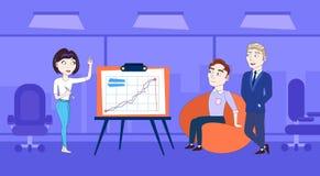 Ledande presentation för affärskvinna eller konferensrapport till Team Standing Over Data On Flip Chart royaltyfri illustrationer