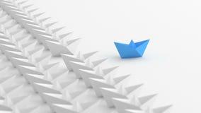 Ledande viter för blått ledarefartyg stock video