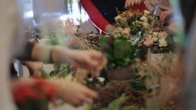 Ledar- blomsterhandlare för grupp som arbetar med blommor arkivfilmer