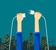 Ledar- elektriker som rymmer en elektrisk kabel med elektriskt ut royaltyfri illustrationer