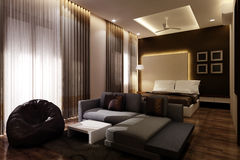 Ledar- sovrum 3D Royaltyfria Foton
