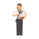 Ledar- ung kock för sushi som dekorerar den läckra teckenvektorn royaltyfri illustrationer