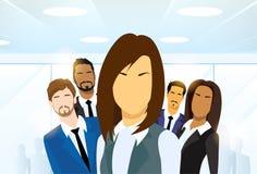 Ledare Diverse Team för grupp för folk för affärskvinna Arkivbild