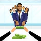 Ledare Get Salary Dollar för grupp för affärsfolk Arkivbild