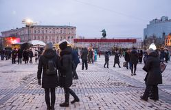 ledare Kyiv/Ukraina - Januari, 13, 2018: Mässa för ` s för nytt år på Sophia Square nära en monument av Bogdan Khmelnitsky Arkivfoton