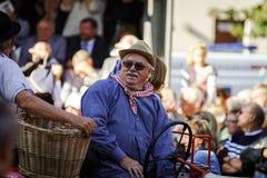 Ledare 4 Oktober 2015: Barr Frankrike: Stor festdes Vendanges Arkivfoton