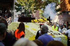 Ledare 4 Oktober 2015: Barr Frankrike: Stor festdes Vendanges Arkivfoto