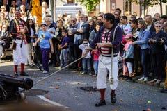 Ledare 4 Oktober 2015: Barr Frankrike: Stor festdes Vendanges Royaltyfri Fotografi