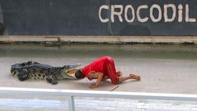 Ledare-show stor krokodil på golvet i zoo royaltyfria bilder