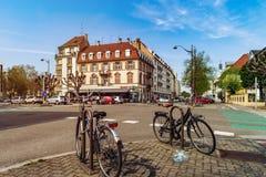 Ledare: 1st April 2017: Strasbourg Frankrike Cyklar på set Royaltyfri Bild