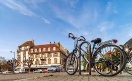 Ledare: 1st April 2017: Strasbourg Frankrike Cyklar på set Royaltyfria Bilder