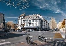 Ledare: 1st April 2017: Strasbourg Frankrike Cyklar på set Arkivbild