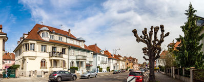Ledare: 1st April 2017: Strasbourg Frankrike Stadsgatasikt Arkivbild