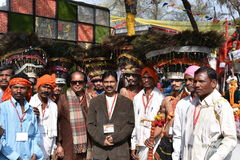 Ledare: Surajkund Haryana, Indien: Februari 06., 2016: Anden av karnevalet i den 30th internationalen tillverkar karneval Arkivbilder