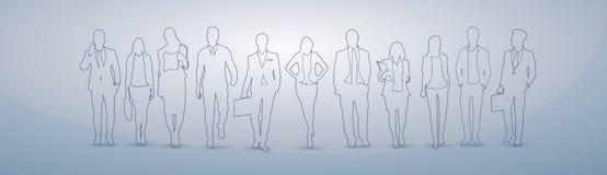 Ledare Team Businesspeople Teamwork Concept för kontur för grupp för affärsfolk stock illustrationer