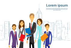 Ledare Team Cartoon för grupp för affärsfolk royaltyfri illustrationer