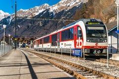 Ledare: 16th Februari 2017: Brienz Schweiz Royaltyfri Foto