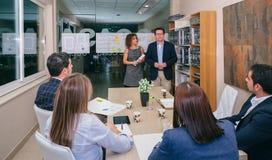 Ledarelag som har affärsmöte i högkvarter Arkivbilder