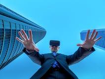 Ledaren av affären i cyberspace och virtuell verklighet Arkivbild