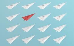 Ledarskap eller olikt begrepp med det röd och vitbokflygplanet på blå bakgrund Digital hantverk i utbildnings- eller loppbegrepp stock illustrationer