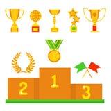 Ledarskap för bända för sport för utmärkelse och för seger för vinnare för symbol för lägenhet för kopp för vektortrofémästare gu stock illustrationer