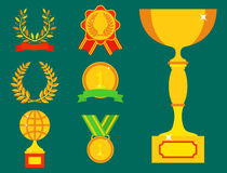 Ledarskap för bända för sport för utmärkelse och för seger för vinnare för symbol för lägenhet för kopp för vektortrofémästare gu royaltyfri illustrationer